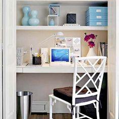 Home Office Decor Small Shelves Ideas Closet Office, Home Office Space, Home Office Decor, Office Furniture, Home Decor, Office Ideas, Small Office, Closet Space, Closet Desk