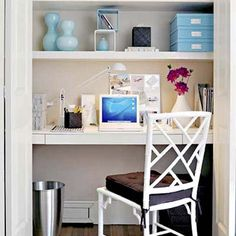 turn a closet into a home office how to do it unhinge the door and trade hanging rods for shelvesa deep one for the desktop and two shallow ones above for bpgm law office fgmf