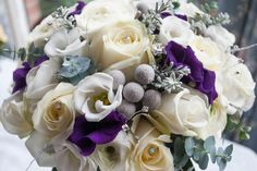 Winter wedding bouquet in white, purple and silver - by Laurel Weddings