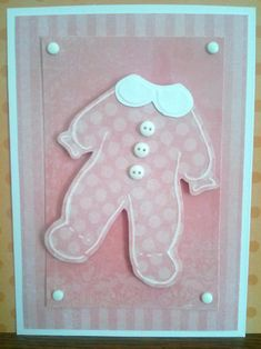 Baby Girl Pajama Handmade Embossed Baby Shower Invitation/Birth Announcement by WhatACardByWendy on Etsy