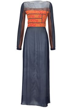 Navy blue tunic with red and yellow printed yoke available only at Pernia's Pop-Up Shop.