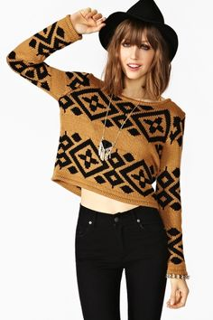 """Totally awesome tan knit featuring a scoop neckline and black tribal print. Looks perfect paired with high-waist skinnies and a fringe bag! By MinkPink.      *Acrylic/Cotton Blend  *18.5"""" bust  *19'' length  *24.5"""" sleeve length  *Model is wearing size small  *Runs true to size"""