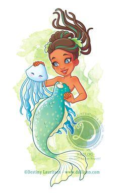 Green Mermaid and Jellyfish - © Destiny Lauritsen / Dalliann Illustration & Design Siren Mermaid, Mermaid Fairy, Mermaid Disney, Black Mermaid, Cute Mermaid, Unicorns And Mermaids, Mermaids And Mermen, Chibi, Mermaid Illustration