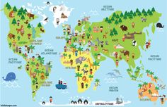 Funny cartoon world map with children of different nationalities, animals and monuments of all the continents and oceans. Vector illustration for preschool education and kids design. Continents And Oceans, Spanish Names, Five In A Row, Preschool Education, Monuments, Kids Poster, Play To Learn, Animals Of The World, Countries Of The World