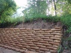 ... cement bags used as front yard retaining wall concrete retaining walls