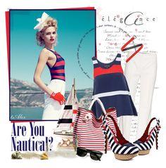 """Are u nautical?"" by ts-alex ❤ liked on Polyvore featuring MaxMara, Toi Et Moi, Street Level, Naughty Monkey, Persol, Bottega Veneta, nautical, striped sandals, tank top and wide leg pants"