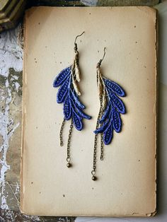 feather lace earrings // ELSA // cobalt and gold ombre // long