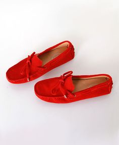 Red Suede Flat Boat Shoes