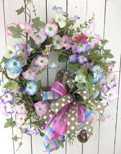 Front door wreath Morning Glory Wreath Spring Wreath by Keleas