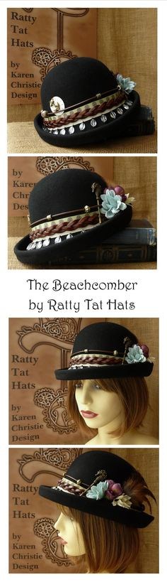 A little Bohemian Chic meets Steampunk in this handmade bowler style Cloche hat from Ratty Tat Hats. Complete with leather bands, glass coffee bean trim, antique pocket watch parts, beads and nautcal charms. Can be purchased from the website shop.