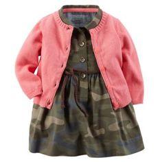 Carter's+Camo+Dress+&+Cardigan+Set+-+Baby+Girl