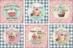 Etiquetas Paper Napkins For Decoupage, Decoupage Art, Decoupage Vintage, Shabby Vintage, Rue De Sevres, Chocolate Card, Vintage Prints, Vintage Posters, Cupcake Drawing