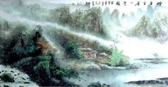 Chinese Painting: Trees, houses - Chinese painting CNAG221753 - Artisoo.com