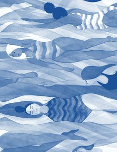 Illustration for Bitch magazine's 67th issue, accompanying Meisha Rosenberg's article 'Making Waves: The Slow Crawl Toward Making Swimming More Inclusive' | Eleni Kalokorti