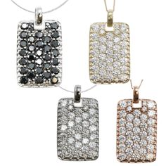 Michael Valitutti 10k Gold Cubic Zirconia Dog Tag Style Necklace