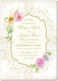 Elegant Enchantment - Signature White Textured Wedding Invitations - Lady Jae - Heather - Pink : Front