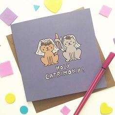 Bride and bride card, lesbian wedding card featuring two adorable cats!
