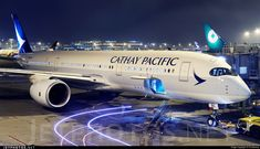 A closeup view of Cathay Pacific's brand new Airbus A350-941XWB