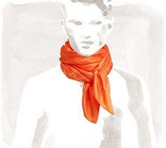 Hermès Grand H Hermes jacquard silk and wool scarf in orange, 30 x 71 Ref. 720575T69
