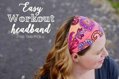 Workout headband easy 4 step tutorial. The perfect and easy fitness headband tutorial DIY. 30 minute headband diy keep your hair out of your face.