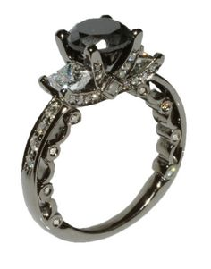 Engagement Ring Black Diamond 2.55Ct 14KT White Gold Black Rhodium