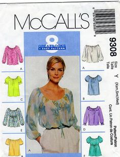 Womens Peasant Top McCalls 9308 Sewing by FindCraftyPatterns