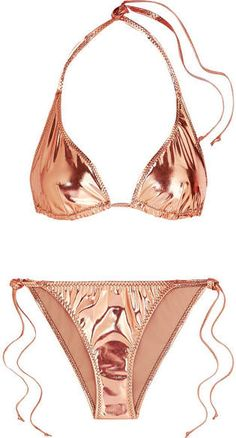 Lisa Marie Fernandez Pamela Metallic Stretch-pvc Bikini Bikini Swimwear, Bikini Set, Swimsuits, Bandeau Swimsuit, Thong Bikini, Outfits For Teens, Summer Outfits, Dress Summer, Normal Models