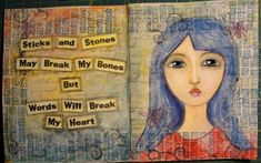 Words Matter: My First Published Artwork! Sticks And Stones, Anti Bullying, All You Need Is Love, My Heart Is Breaking, Sticky Notes, Love Heart, Words Quotes, Cool Words, Art Projects