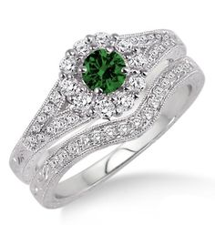 1.5 Carat Emerald & Diamond Antique Floral Bridal set on 10k White Gold. If you are looking for a Emerald gemstone engagement ring set at affordable prices then look no further than this beautiful Emerald and diamond wedding engagement ring. This ring can be customized to 10k 14k or 18k gold.| Price: $799.00 USD on Shygems