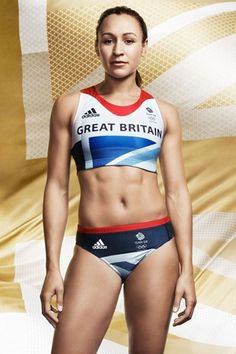 Jessica Ennis modelling the Team GB London 2012 kit, designed by Stella McCartney