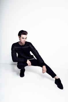 Mens Editorial  All Saints Fashion- Photographer Samantha Annis Model Alexander Rain  style, high fashion, minimal, minimalism, black on black