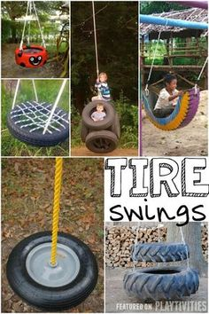 Diy tire swing, Diy swing and Kids Outdoor Play, Kids Play Area, Backyard For Kids, Backyard Games, Outdoor Toys, Diy For Kids, Backyard Ideas, Backyard Seating, Tyre Ideas For Kids