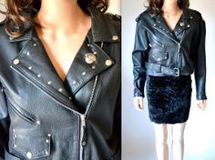 80s Black Leather Moto Jacket with Studs // by Hookedonhoney #vintage #motojacket #leatherjacket #vintagejacket #vintageleatherjacket #studdedleatherjacket