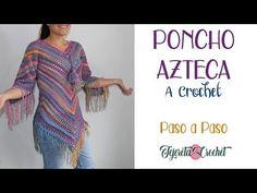 Poncho azteca a crochet paso a paso - ganchillo - Crochet Poncho Patterns, Crochet Cardigan, Crochet Scarves, Crochet Shawl, Crochet Clothes, Crochet Stitches, Quick Crochet, Crochet Granny, Diy Crochet