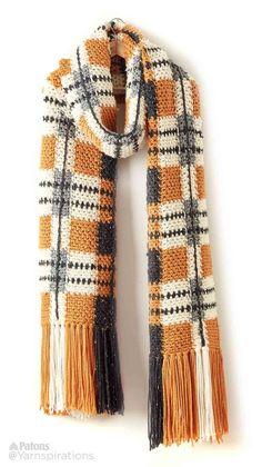 Big Tartan Crochet Super Scarf - free chunky crochet pattern by Patons for Yarnspirations. Crochet Scarves, Crochet Shawl, Crochet Clothes, Crochet Stitches, Knit Crochet, Crochet Patterns For Scarves, Chunky Crochet Scarf, Crochet Crowd, Tunisian Crochet