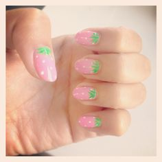 Cute pink strawberry nail design