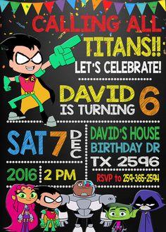 Teen Titans Go Birthday Party Invitation by DigitalPartyInc