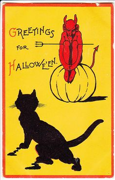 Art Deco style graphic black cat and devil vintage Halloween card