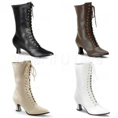 PLEASER FUNTASMA VICTORIAN-120 CAN-CAN FANCY DRESS MID CALF HIGH BOOTS UK 3-9