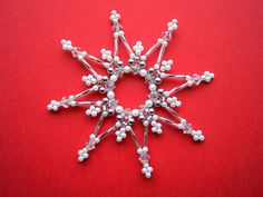 white/silver beads star 9 cm beaded ornament by Sternenstuebchen