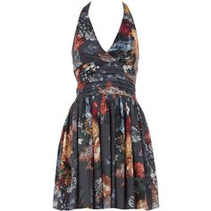 Black floral halter neck dress, found on polyvore.com  -  This dress was $17!!!!!  Unfortunately it is sold out.  dorothyperkins.com