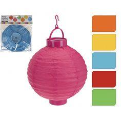 Leuke verlichting voor ieder feest. Papieren lampion in verschillende kleuren verkrijgbaar. De ronde lampion heeft een diameter van ongeveer 20 cm heeft een LED lampje. Werkt op batterij, deze wordt niet meegeleverd.
