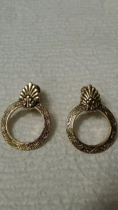 Vintage gold tone hoop clip on earrings Drop/Dangle #DropDangle
