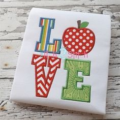 Apple Love Applique - 2 Sizes! | back-to-school | Machine Embroidery Designs | SWAKembroidery.com The Itch 2 Stitch