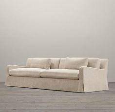 RHu0027s Belgian Slope Arm Slipcovered Two Seat Cushion Sofa:Our  European Inspired
