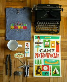 Brave the Woods: Camp NaNoWriMo Brand Identity Brad Woodard, of Brave the Woods, had the opportunity to design the Brand Identity and collateral for this year's Camp NaNoWriMo, which offers online resources and motivation to help users write a novel in one month. He took inspiration from his experience as a camper, backpacker and former Boy Scout to develop everything from posters and stickers to t-shirts and bookmarks.