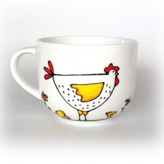 Coffee Cup Bowl Porcelain Hen Chicken Hand painted by Isabelle Malo Pottery Painting, Ceramic Painting, Diy Painting, Chicken Crafts, Hen Chicken, Cup Decorating, Painted Coffee Mugs, Sharpie Crafts, Cute Paintings