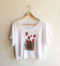 Strawberry Screen Printed T Shirt, Fruit Print, Crop Top, Boxy Tee