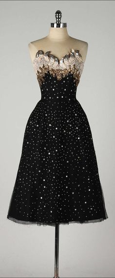Vintage 1950's Rudolf Stars Rhinestones Cocktail Dress
