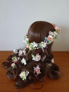 アイボリー~ピンクのナチュラル花冠&ヘアパーツ☆ の画像|Ordermade Wedding Flower Item MY FLOWER ♪ まゆこのブログ